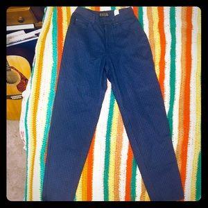Falls Creek Blue Plaid High Waisted Mom Jeans